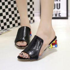 Women's Summer Sandals Shoes Toe Chunky Heels Slip-Ons Slippers Open Sliders