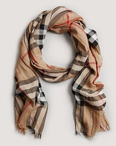 "Burberry Giant Check Gauze Scarf, 87"" x 27 1/2"" with fringed ends."