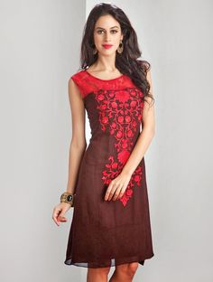 Bring to light your mystic and hidden beauty as step out in this brown and red party wear readymade designer kurti. Shop on www.lookbuylike.com