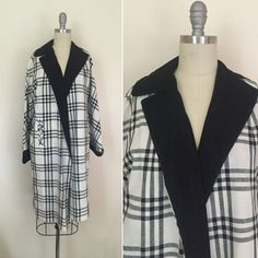 NEW IN THE SHOP. Vintage 1970s Black White Striped Overcoat. Size S/M http://ift.tt/1lP6fC1