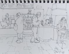 urban moment- pencil drawing by Nora MacPhail