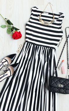 Preppy street chic-Black White Mixed Stripe Pleated Dress. SHEIN design.