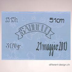 Bild (Kinderzeichnung blau, gedruckt) handbeschriftet erhältlich in den Formaten A4 und A3 (Text und Schrift wählbar im Onlineshop)