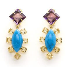 Earrings with Amethyst, Citrine and Turquoise by Bounkit | Bounkit