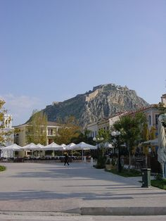 Palamidi fortress seen from the Náfplio waterfront in the Peloponnese region of southern Greece