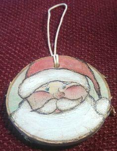 Santa Wood Burned Ornament by SedonaArts on Etsy Wood Slice Crafts, Wood Burning Crafts, Wood Burning Patterns, Wood Burning Art, Wood Crafts, Painted Ornaments, Wooden Ornaments, Santa Ornaments, Diy Christmas Ornaments