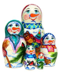 Cute family of adorable snowmen holding Santa's sack of presents are beautifully hand painted on this authentic set of Russian babushka nesting dolls. Russian Babushka, Cute Snowman, Snowmen, Cute Family, Wooden Dolls, Pet Portraits, Presents, Daughter, Hand Painted
