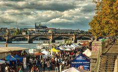 Naplavka - the most popular part of Vltava´s river bank in Prague