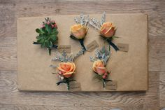 Buttonholes and Corsage for the Brides side of the Family #Roses #Succulents #Buttonholes #Corsages #Bride