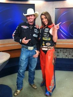 Stacia on set with PBR star Austin Meier. Colorado Springs, Professional Bull Riders, On Set, Behind The Scenes, Star, Fitness, Fashion, Moda, Fashion Styles