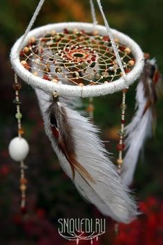White october mobile dreamcatcher for baby with natural stone by snovedi.ru