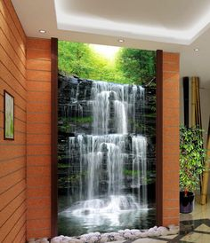 beibehang waterfall scenic woods murals papel de parede Living room wall paper background photo wallpaper Home Decoration Wallpaper Pictures, Photo Wallpaper, Wall Wallpaper, Wallpaper Ideas, 3d Landscape, Chinese Landscape, 3d Living Room, Wall Design, House Design