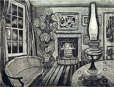 'Winter evening' - etching by Richard Bawden. Linocut Prints, Art Prints, Chiaroscuro, Cat Art, Printmaking, Screen Printing, Black And White, Gallery, Drawings