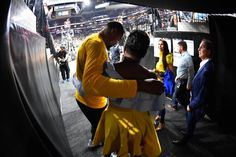 Kevin Durant of the Golden State Warriors and mom hug before the game against the San Antonio Spurs during Game Four of the Western Conference Finals...