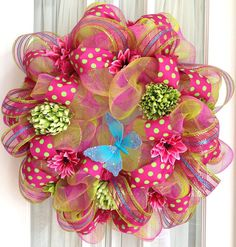 Deco Mesh Wreath Hot Pink Lime Turquoise by SouthernCharmWreaths, $87.00