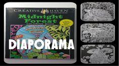 Midnight Forest - Diaporama du livre de coloriages sur fonds noirs #midnightforest #coloriage #artthérapie #arttherapie #coloriageantistress #coloriagepouradultes #diaporama