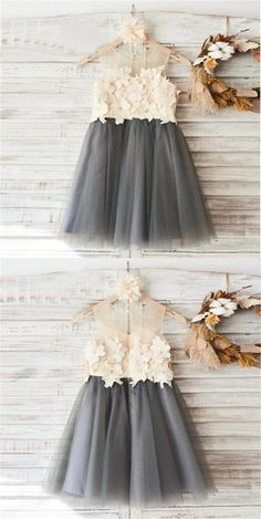 Top Lace Appliques Grey Tulle Sleeveless Cute Custom Flower Girl Dresses, Junior Bridesmaid Dresses, Shop plus-sized prom dresses for curvy figures and plus-size party dresses. Ball gowns for prom in plus sizes and short plus-sized prom dresses for Grey Flower Girl Dress, Tulle Flower Girl, Flower Dresses, Ball Dresses, Flower Girls, Dress With Flowers, Tutu Dresses, Grey Flowers, Long Dresses