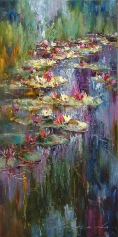 6 Original Artworks curated by Andrew Manaylo, Water Lilies. Original Art Collection created on Water Lilies Painting, Lily Painting, Arte Van Gogh, Impressionist Art, Monet, Watercolor Art, Art Drawings, Canvas Art, Fine Art