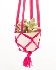 DIY Room Decor Ideas for Teens - Cute Room Decor For Girls - Hanging Macrame Planter Can Be Made From An Old T-Shirt