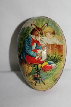 Antique Paper Mache German Easter Egg-Rabbit Painting Egg w/ Child