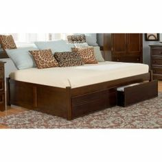{NSAW - YES!} Concord platform daybed - modern, queen-size, built-in storage, backless design, solid eco-friendly hardwood; wood finish options, no boxspring needed.