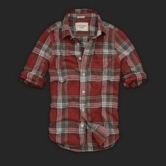 New style Abercrombie Mens Shirt Chrome red