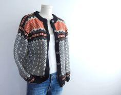Vintage Nordic Wool Fair Isle Cardigan Sweater / Dale of Norway Fall Black Orange Cream. $80.00, via Etsy.