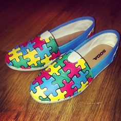 d6ca119a989ca5 Hand Painted Autism Awareness Shoe (3 different styles)  autism Autism  Month