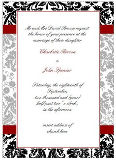 Red Damask Invitations and RSVP cards by MGDezigns on Etsy,
