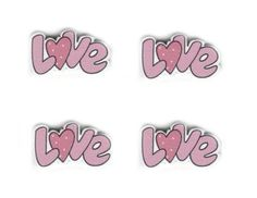 8 Wooden Embellishments - Pink LOVE word