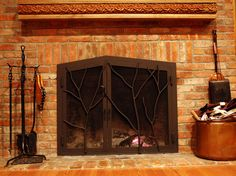 Forged steel fireplace screen with tree branches. By BMW Ironworks. Decor, Custom Fireplace, Tree Branches, Forged Steel, Custom Fireplace Screens, Home Decor, Screen, Steel, Fireplace