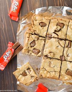 One Bowl Candy Bar Blondies- a delicious bar to bake with your leftover Halloween candy.