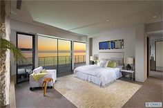 Awesome waterfront master bedroom.