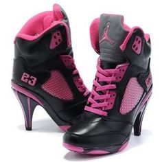 http://www.asneakers4u.com/ Nike Air Jordan 5 High Heels Black Pink