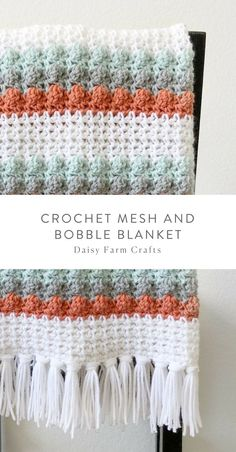 Free Pattern – Crochet Mesh and Bobble Blanket The Mesh Produce Bag Collection PatternBobble Handbag Free Crochet PatternFree Pattern – Crochet Bobble Lines Baby Blanket Afghan Crochet Patterns, Crochet Stitches, Knitting Patterns, Crochet Afghans, Crochet Quilt, Crochet Mandala, Crochet Granny, Double Crochet, Knit Crochet