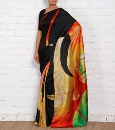 Multicoloured Hand Painted Pure Silk Saree