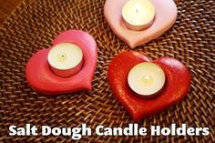 Salt Dough Candle Holders | Kids love playing with playdough and painting their own masterpieces ... these make great gifts.
