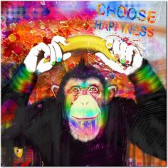"""Leinwandbild """"Choose Happiness"""" ッ Ein freundlicher Affe für jeden Street Art Liebhaber! ッ bunte Art, Kunst, industriell, street art, modern ッ"""
