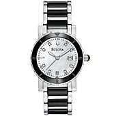 Bulova Watch, Women's Diamond Accent Stainless Steel and Black Ceramic Bracelet 98P122