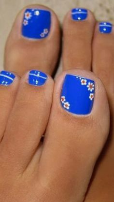 ideas pedicure blue toenails for 2019 Pretty Toe Nails, Cute Toe Nails, Pretty Toes, Pedicure Designs, Pedicure Nail Art, Toe Nail Designs, Pedicure Ideas, Toe Nail Color, Toe Nail Art