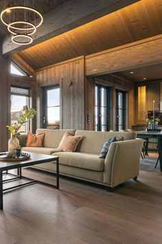 Cabin Interiors, Interior Inspiration, Conference Room, Couch, Living Room, Table, Furniture, Den, Home Decor