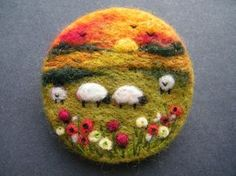 Hand Made Needle Felted Brooch/Gift Sunset Meadow by Tracey Dunn
