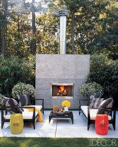 A Hamptons Outdoor Fireplace.