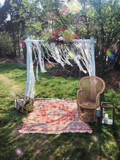 "Our ""Woodland"" simple wooden arch styled with macrame, faux florals and boho props Tipi Wedding, Fall Wedding, Wooden Arch, Autumn Weddings, Logs, Outdoor Furniture, Outdoor Decor, Arches, Hammock"