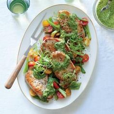 Pork Medallions with Scallions and Magic Green Sauce | MyRecipes.com #myplate #protein #veggies
