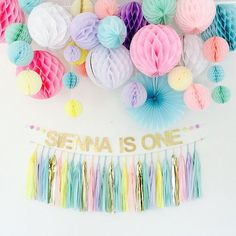 pastel party decor honeycomb set by DecoHoneycombs on Etsy