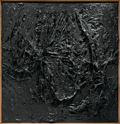 Alberto Burri: Nero plastica (Black Plastic), 1963. Plastic (PE), synthetic polymer paint, and combustion on black fabric. 205 x 199.1 cm. The Museum of Modern Art, New York.