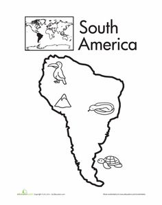Hispanic Heritage Month Kindergarten Places Worksheets: Color the Continents: South America Continents Activities, Geography Activities, Geography For Kids, World Geography, Columbia South America, South America Map, America City, America Continent, South America Animals