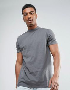 ASOS Relaxed Skater T-Shirt with High Neck In Gray - Gray