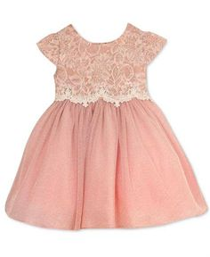 Dress your baby girl in this elegant Rare Editions party dress, featuring a dainty lace bodice paired with a dreamy, shimmer ballerina-style skirt. Cute Baby Dresses, Girls Easter Dresses, Toddler Girl Dresses, Little Girl Dresses, Pretty Dresses, Flower Girl Dresses, Girls Dresses, Pink Dress, Blush Skirt